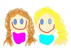 Dibujo por ordenador básico de Elsa y Anna Frozen