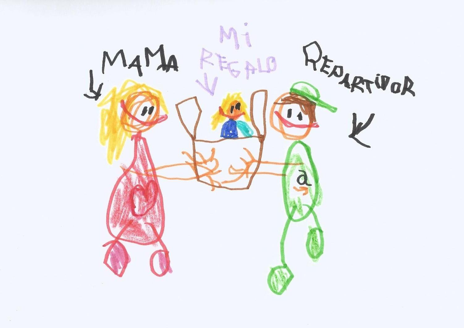 dibujo repartidor amazon y mama