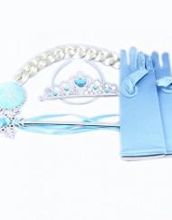 Frozen conjunto tiara, varita, trenza y guante azul trenza blanca