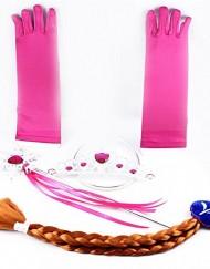 Frozen conjunto tiara, varita, trenza marron y guantes rosa