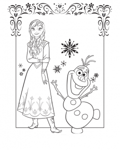 Dibujo Anna y Olaf - Todo Frozen