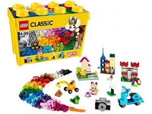 caja plástico lego con piezas